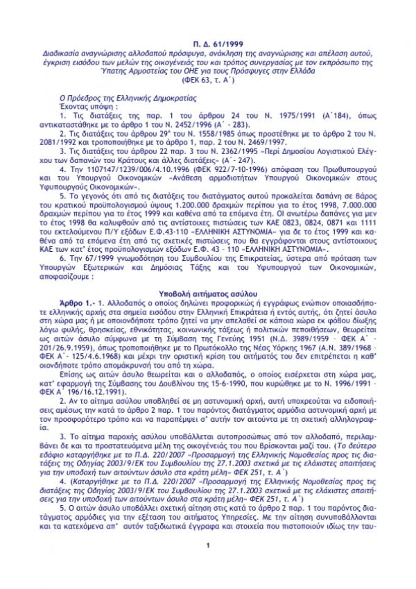 Προεδρικό Διάταγμα 61/1999